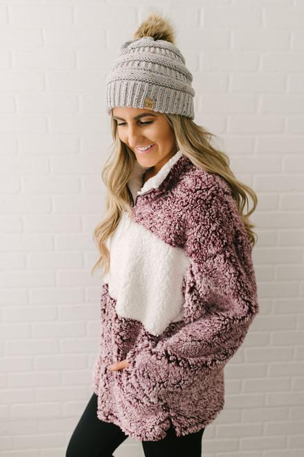 Winter Wonderland Colorblock Wubby Pullover - Burgundy/Ivory - FINAL SALE