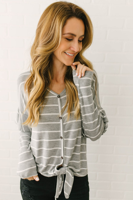 Ruffle Sleeve Striped Knot Top - Grey/White  - FINAL SALE