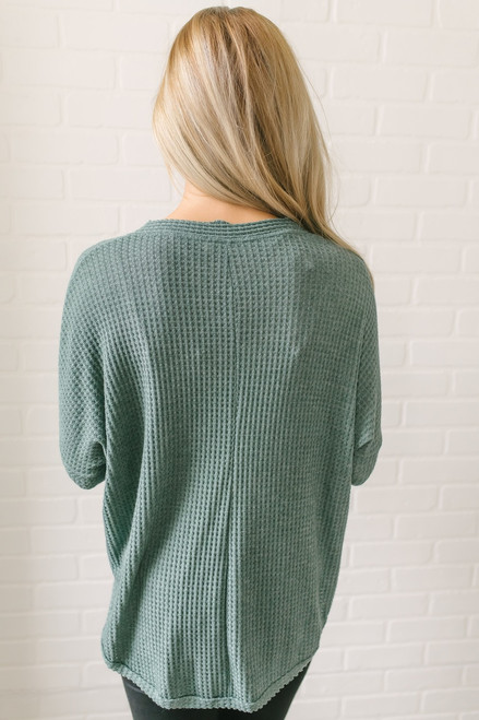 Ansleigh Button Down Knot Thermal Top - Dusty Teal - FINAL SALE