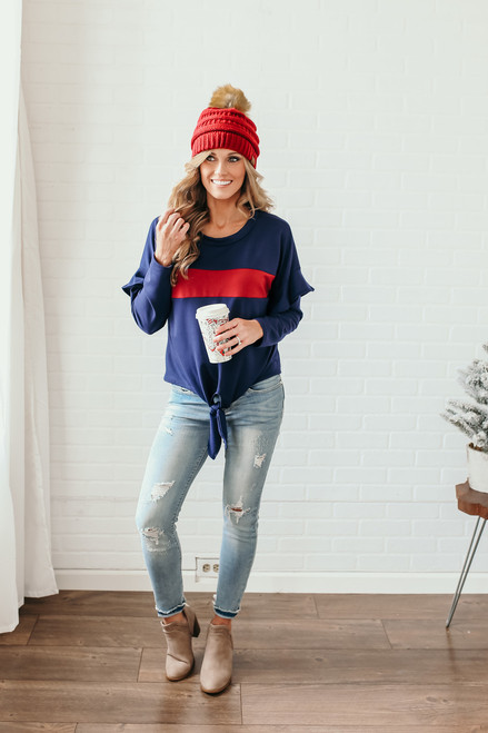 Ruffle Sleeve Colorblock Knot Top - Navy/Burgundy  - FINAL SALE
