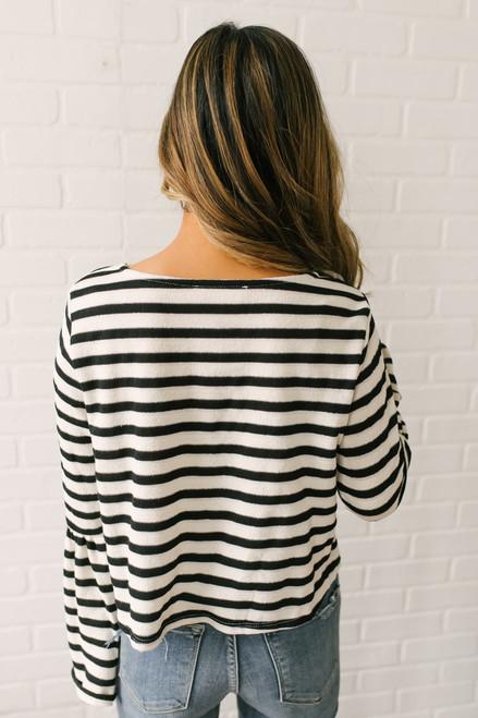 Rowan Bell Sleeve Striped Cropped Top - Black/Cream  - FINAL SALE