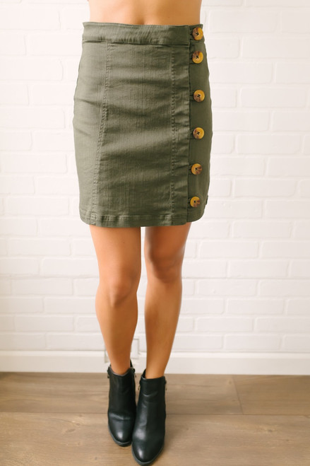 Closing Time Button Down Skirt - Olive - FINAL SALE
