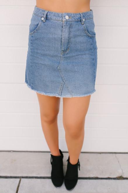 Autumn Nights Frayed Denim Skirt - Light Wash  - FINAL SALE