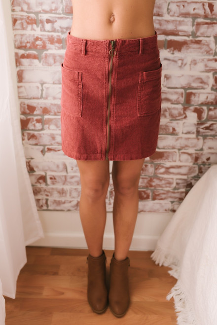 Mallory Zip Up Corduroy Skirt - Rust  - FINAL SALE