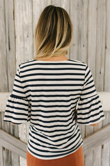Short Ruffle Sleeve Striped Top - Navy/Ivory - FINAL SALE