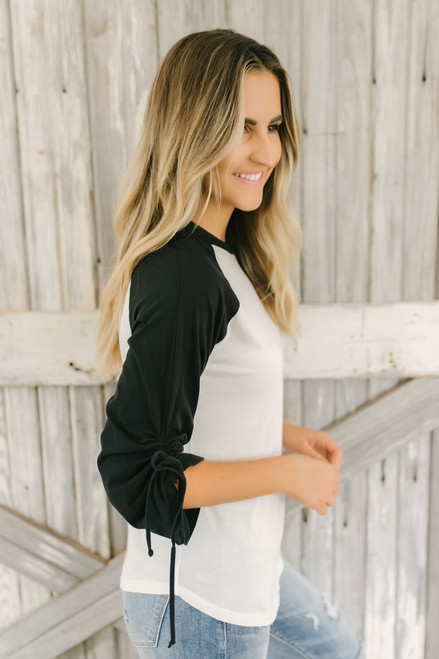 Morgan Ruched Sleeve Baseball Tee - White/Black - FINAL SALE
