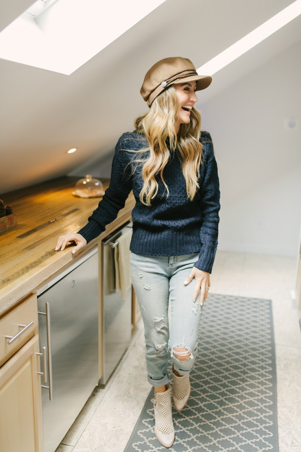 Follow Your Heart Cable Knit Sweater - Navy - FINAL SALE