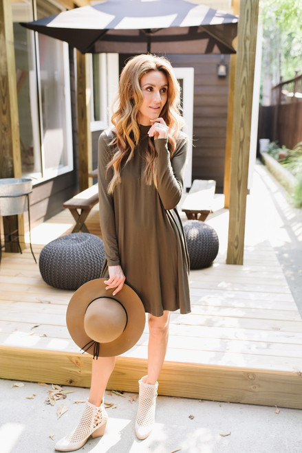 Sweet Love Mock Neck Knit Dress - Olive  - FINAL SALE