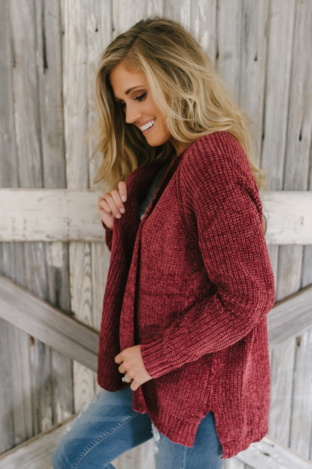 Central Park Chenille Cardigan - Burgundy - FINAL SALE