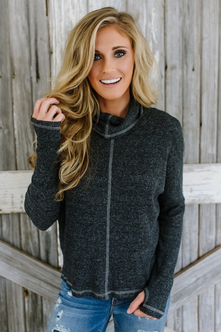 Soft Brushed Cowl Neck Top - Black  - FINAL SALE