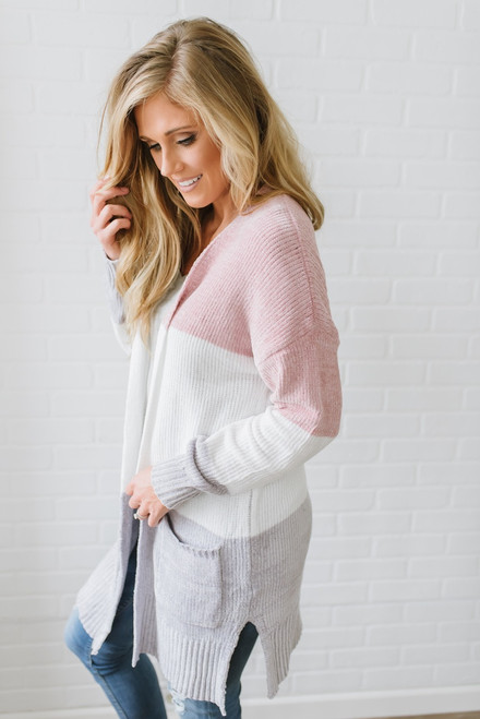 Just a Dream Chenille Colorblock Cardigan - Rose/Ivory/Grey - FINAL SALE