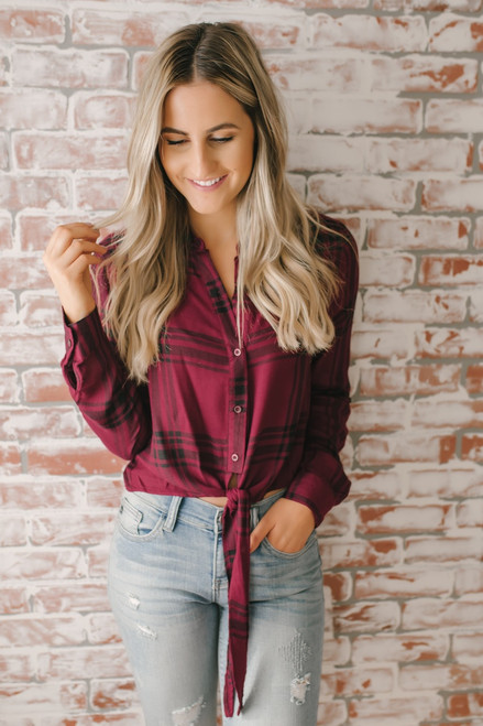 Plaid Button Down Knot Top - Burgundy/Black - FINAL SALE