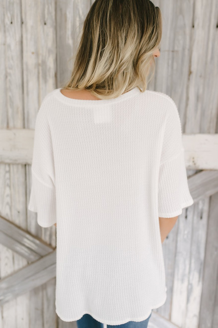 Soft Brushed Waffle Knit Knot Top - Off White  - FINAL SALE