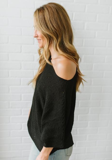 Lightweight Open Knit Bateau Sweater - Black