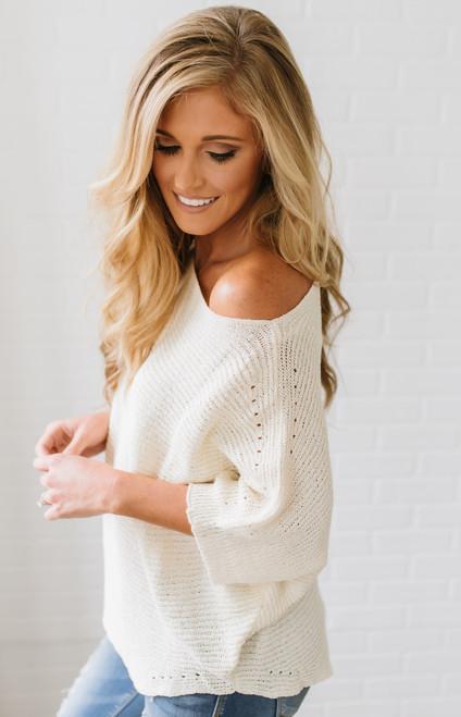 Lightweight Open Knit Bateau Sweater - Cream