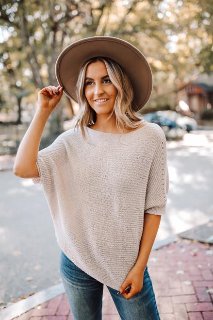 Lightweight Open Knit Bateau Sweater - Pale Pink
