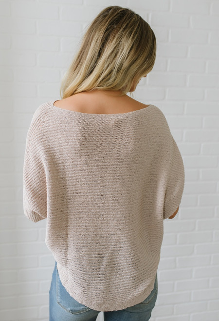 Lightweight Open Knit Bateau Sweater - Pale Pink