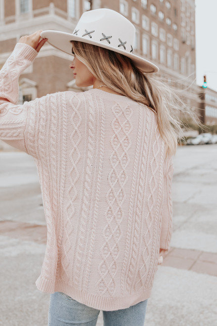 Aspen Highlands Cable Knit Blush Sweater