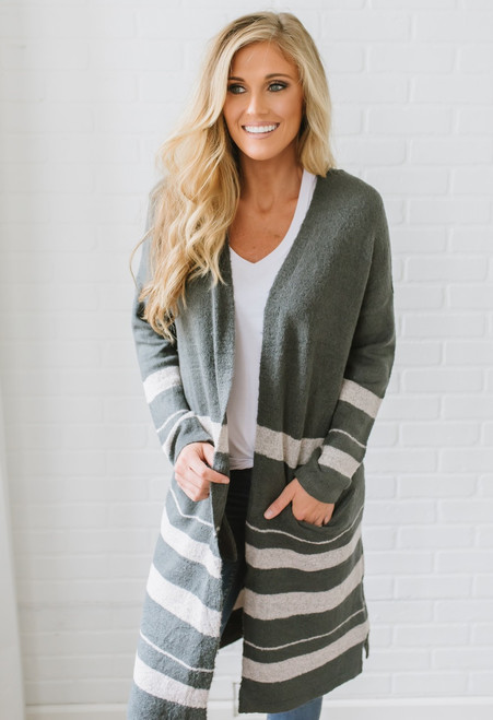 Emma Colorblock Duster Pocket Cardigan - Charcoal/Pink - FINAL SALE