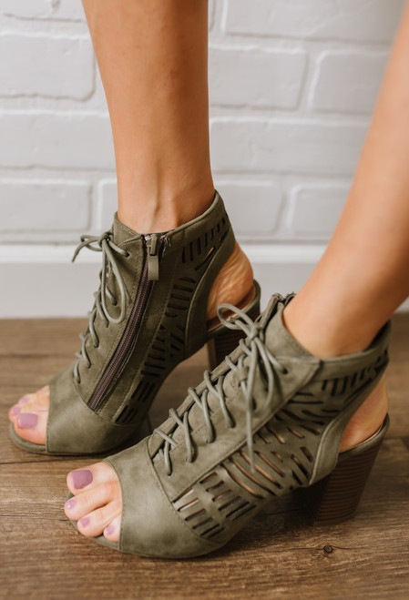 Lace Up Perforated Peep Toe Booties - Olive - FINAL SALE
