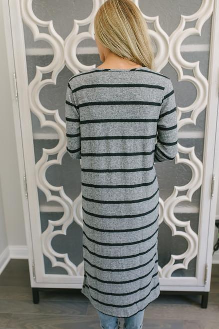 Striped Duster Pocket Cardigan - Heather Charcoal/Black  - FINAL SALE