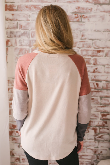 Come Sundown Twisted Hem Colorblock Top - Natural Multi