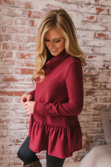 Georgette Cowl Neck Peplum Sweater - Burgundy  - FINAL SALE