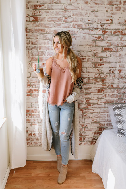 Break of Dawn Lace Detail Tank - Rust Rose