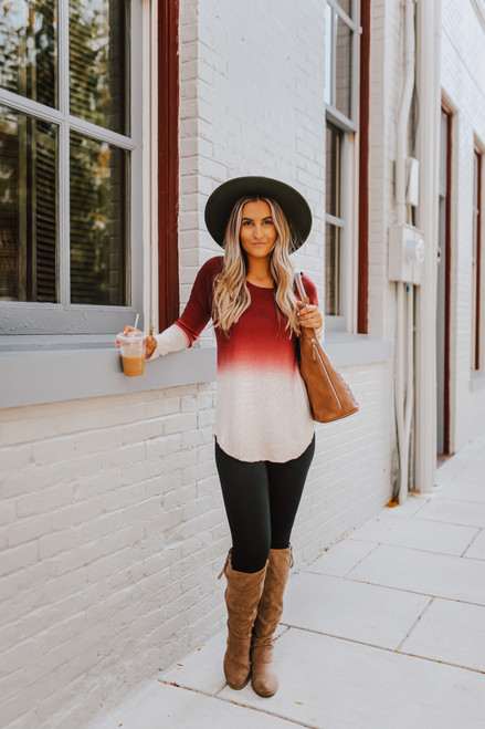 Love at Twilight Ombre Boatneck Sweater - Wine/Oatmeal - FINAL SALE