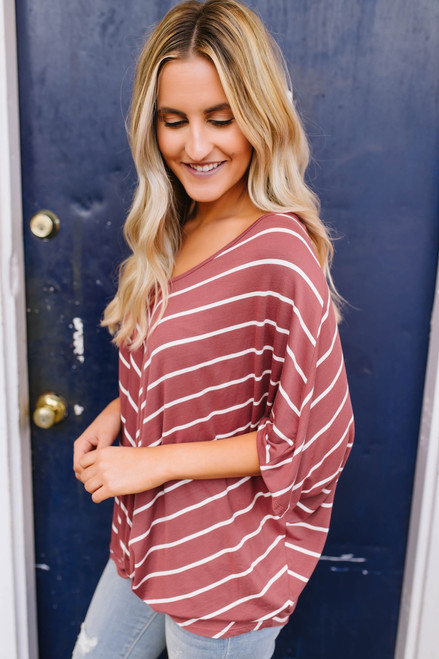 Addison Striped Twisted Hem Top - Brick/White - FINAL SALE