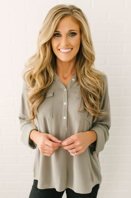 Button Down High Low Pocket Top - Olive  - FINAL SALE