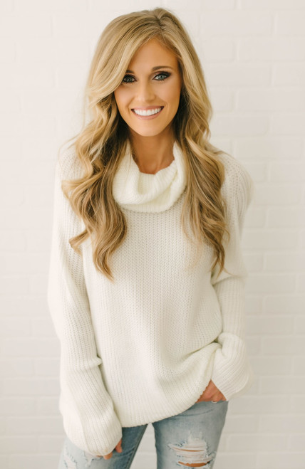 Mountain Lodge Cowl Neck Sweater - Ivory - FINAL SLE