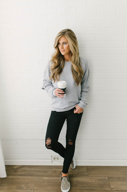 Telluride Ruffle Sleeve Pullover - Heather Grey  - FINAL SALE