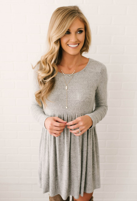 Simple As This Soft Brushed Dress - Heather Grey - FINAL SALE