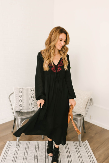Adventure in Prague Embroidered Maxi - Black/Burgundy  - FINAL SALE