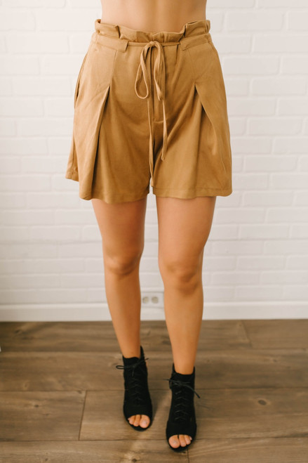 You Belong with Me Faux Suede Shorts - Camel  - FINAL SALE