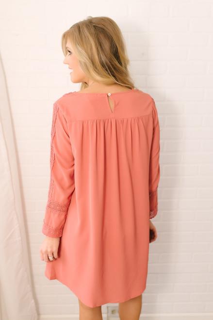 Autumn Soiree Crochet Detail Dress - Brick  - FINAL SALE