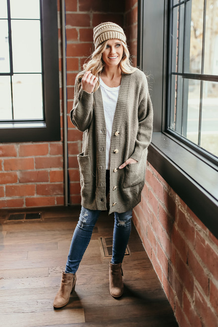 Snowy Mountain Button Down Cardigan - Olive  - FINAL SALE