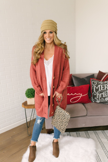 Snowy Mountain Button Down Cardigan - Rust Red - FINAL SALE