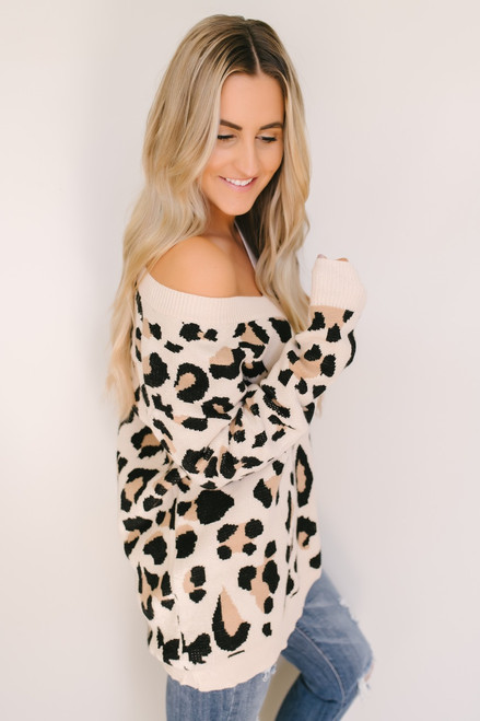 Queen of the Jungle Leopard Sweater - Taupe