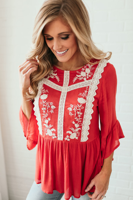 Floral Embroidered Drop Waist Top - Harvest Orange  - FINAL SALE