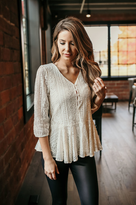 About That Henley Peplum Lace Top - Ivory