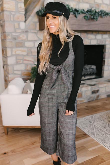 Sonia Knot Front Plaid Jumpsuit - Grey Multi  - FINAL SALE