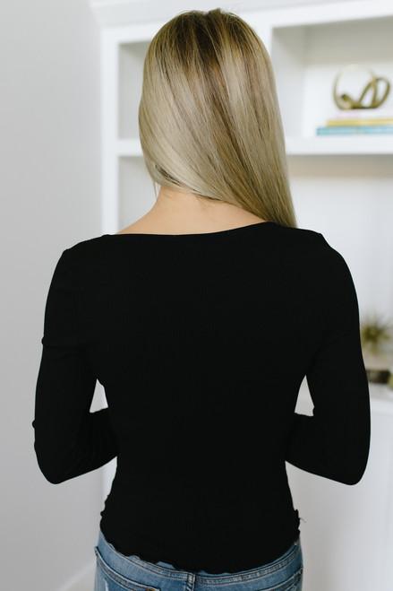 Nicolette Flare Sleeve Ribbed Knit Top - Black - FINAL SALE