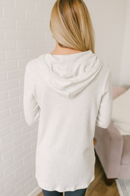 Keeping Up Ribbed Knit Pocket Hoodie - Light Grey - FINAL SALE