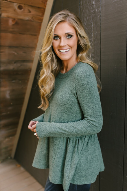 Meant for Me Soft Brushed Top - Heather Olive  - FINAL SALE