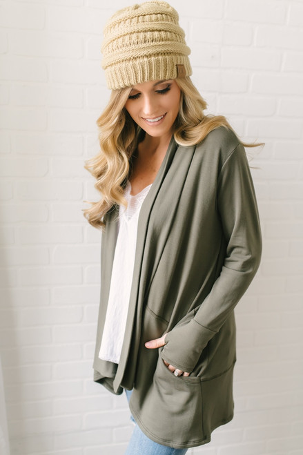 Lake House Brushed French Terry Cardigan - Olive  - FINAL SALE