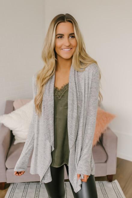 Jordana Soft Brushed Pocket Cardigan - Heather Grey  - FINAL SALE
