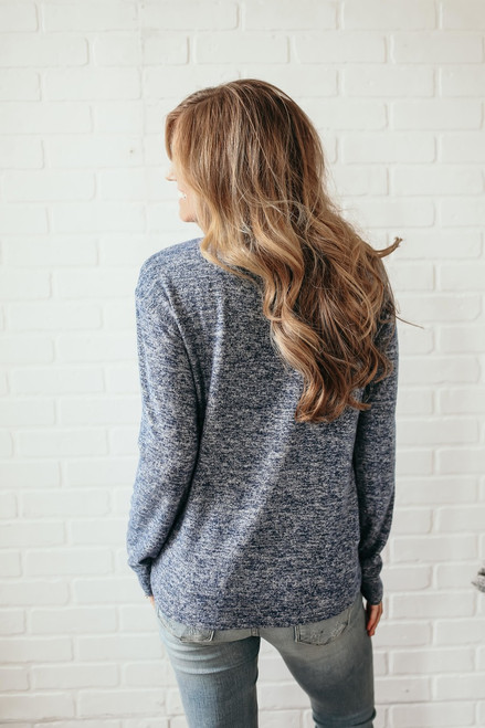 Soft Brushed Lace Up Pullover - Heather Navy  - FINAL SALE