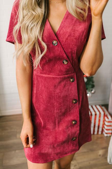 Everly Button Down Corduroy Dress - Burgundy  - FINAL SALE